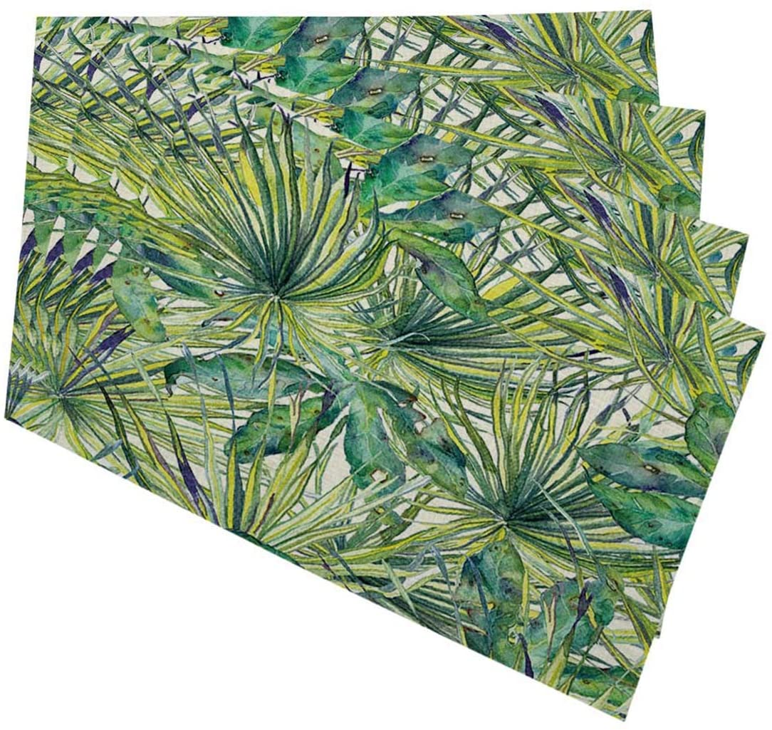 Mugod Green Plants Placemats Watercolor Exotic Tropical Palms Monsteras Leaves Hibiscus Flowers Print Decorative Heat Resistant Non-Slip Washable Place Mats for Kitchen Table Mats Set of 4 12