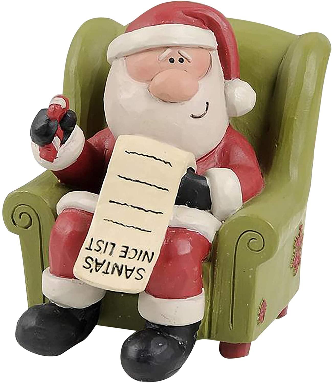 Blossom Bucket 198-12378 Santa in Chair with Nice List Figurine
