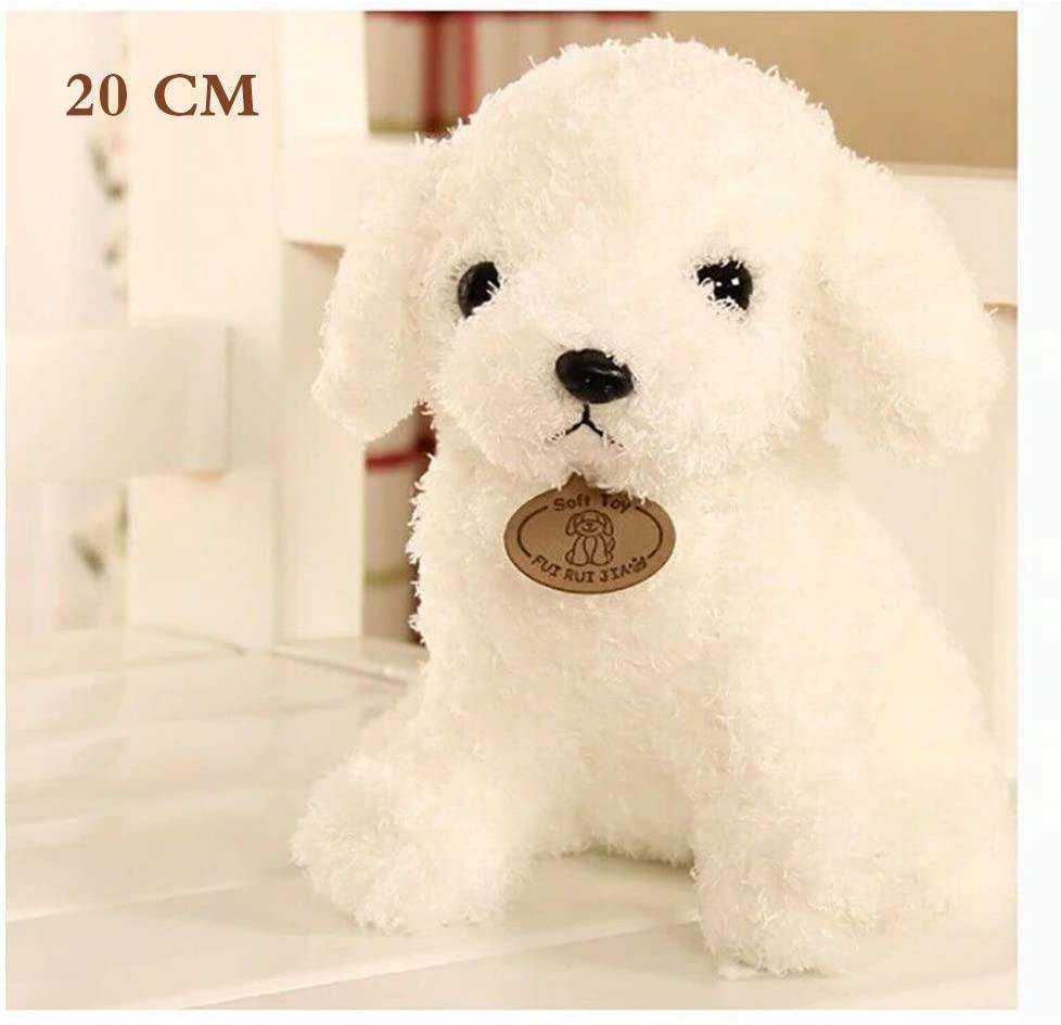Kardon Realistic Teddy Dog Lucky, Handmade Plush Stuffed Animal Puppy Dog, Realistic Figure Toy Dog, Stuffed Animal Dog for Any Dog Lover, Stuffed Animal Toys Gift Plush Doll (White, 20cm)