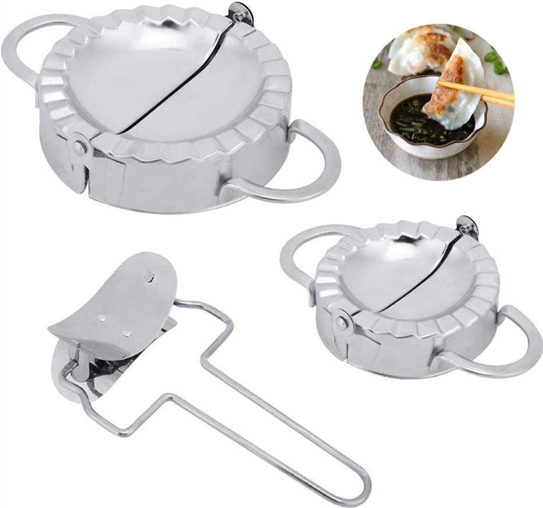 3 Pieces Stainless Steel Manual Dumplings Mold Dumpling Wrapper Making Mold Dumpling Cutter Press Home Cooking Kitchen Utensils Gadgets