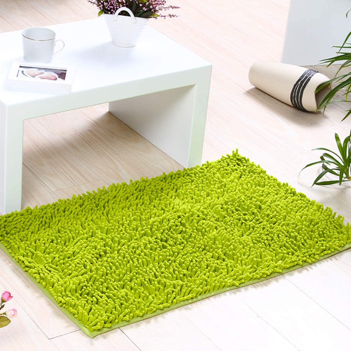 Chenille Bath Mat for Bathroom Rugs,Fluffy Soft and Absorbent Microfiber Shag Rug, Machine Wash Dry Wash - Perfect Plush Carpet Mats for Tub, Shower, and Bedroom (20X31inch, sage Green)