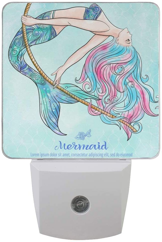 Plug in Night Light Painted Mermaid Lamp Ultra-Slim, Cool-Touch Dusk to Dawn Sensor LED Nightlight Smart Light Automatically Lights for Kids Adults and Nursery Decor Night Light
