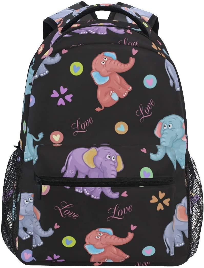 Ombra Backpack Cartoon Elephant Love Heart Pattern School Shoulder Bag Large Waterproof Durable Bookbag Laptop Daypack for Students Kids Teens Girls Boys Elementary