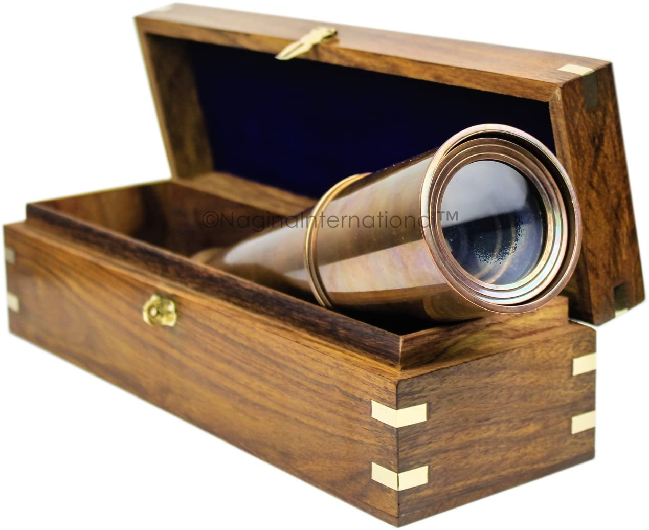 Nagina International Deluxe Nautical Pirate Boat Brass Spyglass with Functional Optical Zooms & Genuine Rosewood Storing Case Anchor Emblem Inlaid 32 Inches, Antique Copper (W/Box)