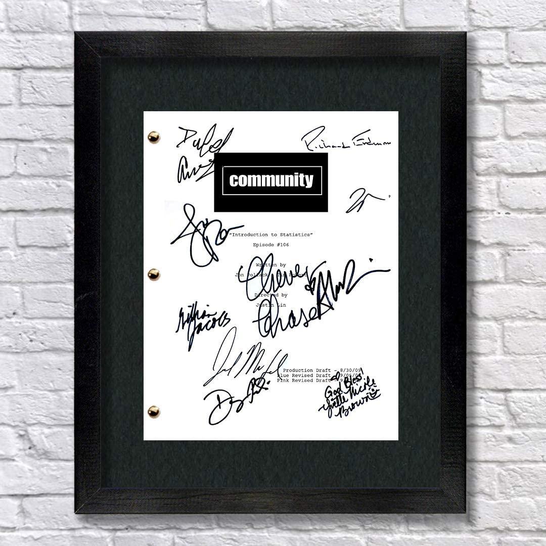 Community TV Cast Autographed Signed Reprint 8.5x11 Script Framed 13x15 Joel McHale, Jeff Winger, Alison Brie, Annie Edison, Gillian Jacobs, Britta Perry, Danny Pudi, Ken Jeong
