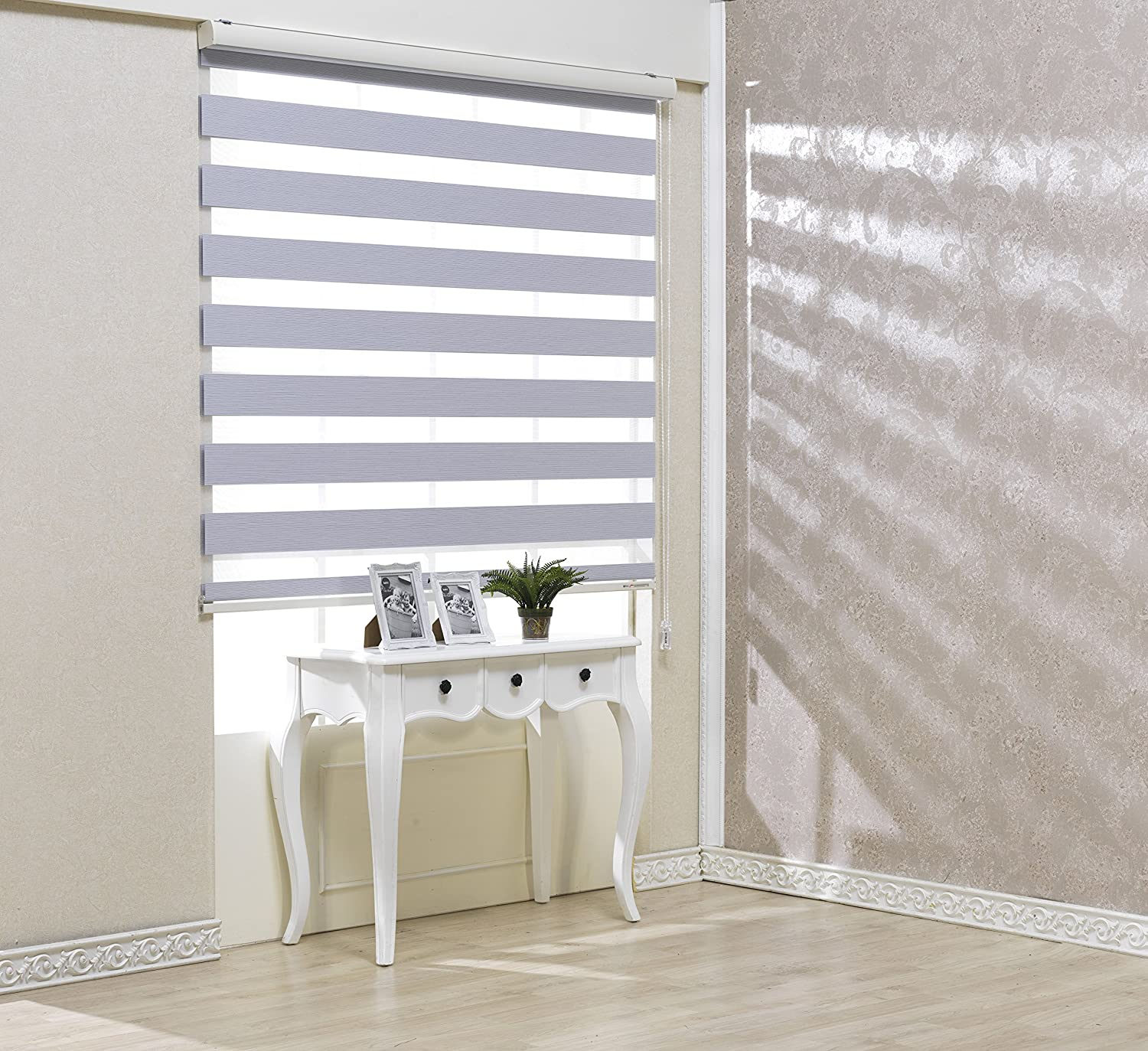 Custom Cut to Size, [Winsharp Blackout Ellis, White, W 91 x H 103 inch] Zebra Roller Blinds, Dual Layer Shades, Sheer or Privacy Light Control, Day and Night Window Drapes, 20 to 110 inch wide