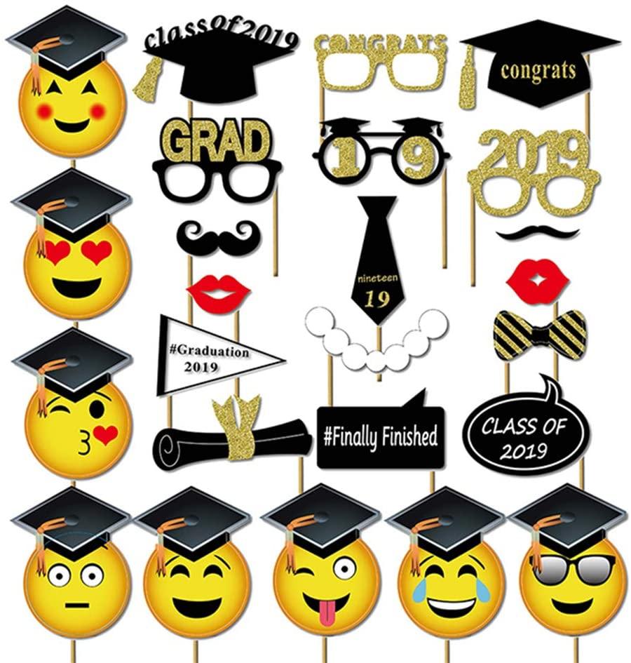 Amosfun Graduation Photo Props Graduation Phtoto Booth Props 2019 Graduation Party Decorations Facial Pattern Bachelor Cap Shooting Props Pack of 25