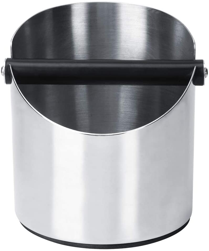 Durable Thicken Round Stainless Steel Coffee Grounds Container Non-slip Slag Storage Bucket Coffee Knock Container 158x140mm(#1)