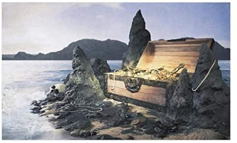 Lunarable Vintage Doormat, Open Treasure Chest with Gold on The Rocky Island Seashore with a Pirate Skull, Decorative Polyester Floor Mat with Non-Skid Backing, 30
