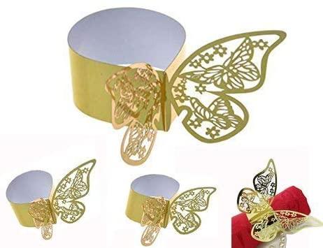 Baimeixun 100pcs 3D Butterfly Paper Napkin Rings for Weddings Party Serviette Table Decoration (Gold)