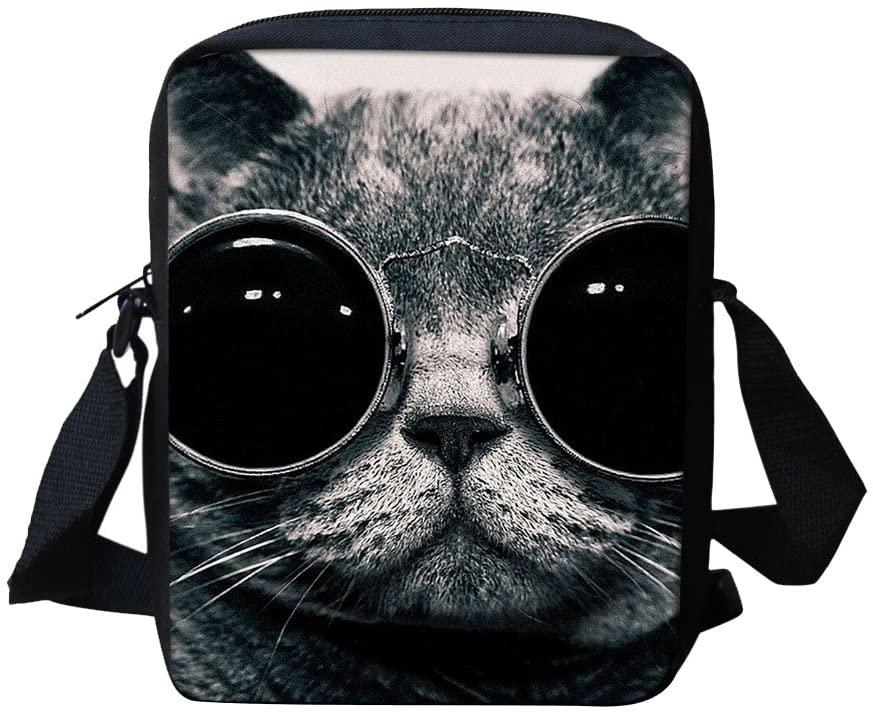 Cat Pattern Messenger Bags for School Cross Body Shoulderbag Purse