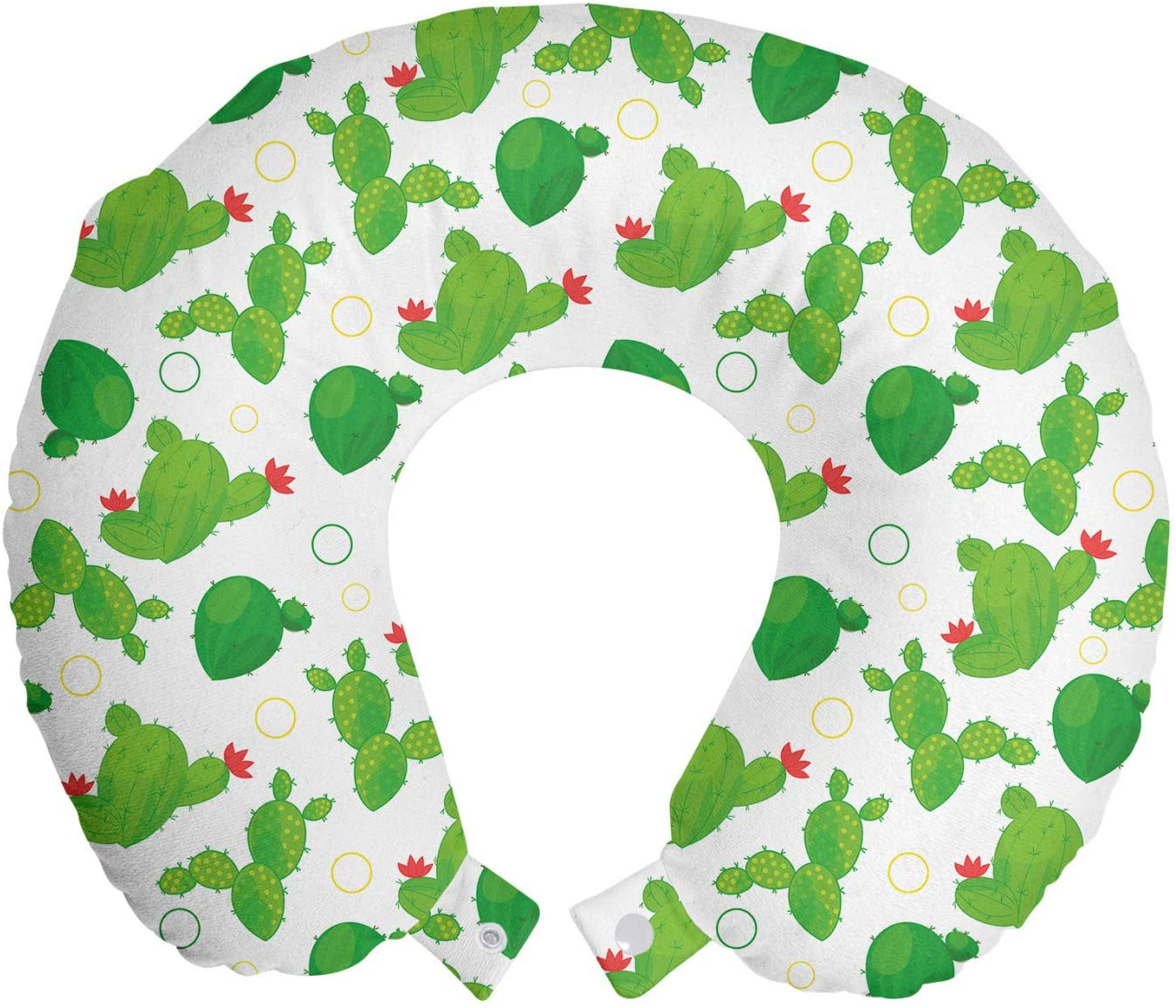 Ambesonne Cactus Travel Pillow Neck Rest, Repeating Cacti with Flowers and Circles, Memory Foam Traveling Accessory for Airplane and Car, 12