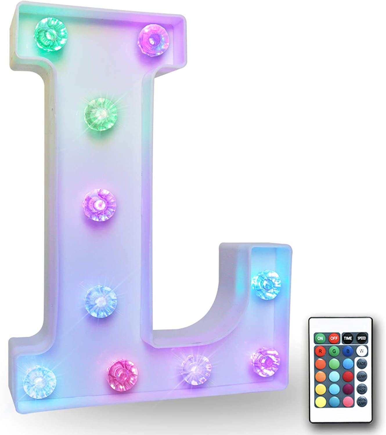 16 Color Changing Marquee Letter with Lights, Battery Power Remote Control Diamond Bulb Words Light Bar Signs for Table, Desk, Party, Wall Decals- RGB Letter L