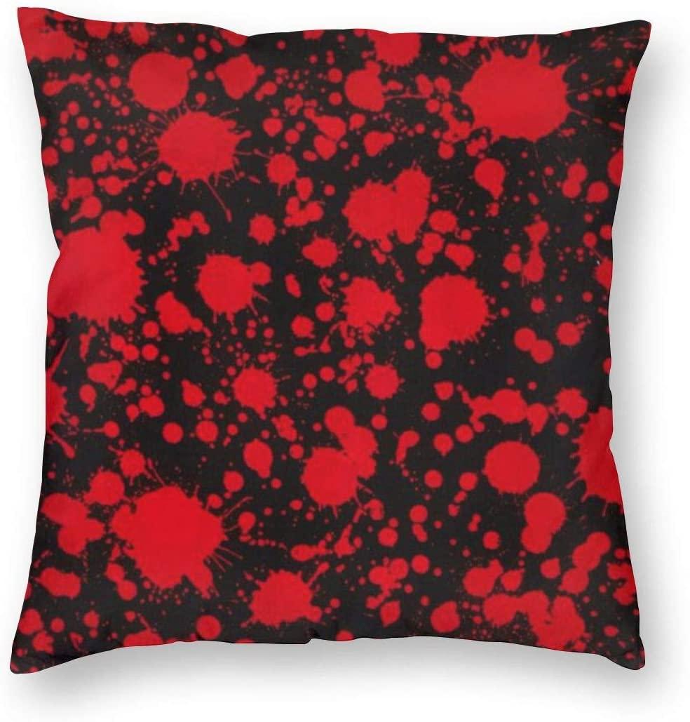 ~ Classic Horror Blood Splatter Black Home Decor Throw Pillow Cover, Lightweight Soft Plush Square Decorative Pillow Case 18x18 Inch Cushion Cover, Sham Stuffer, Machine Washable