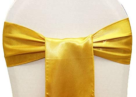 mds Pack of 75 Satin Chair Sashes Bow sash for Wedding and Events Supplies Party Decoration Chair Cover sash -Yellow Gold