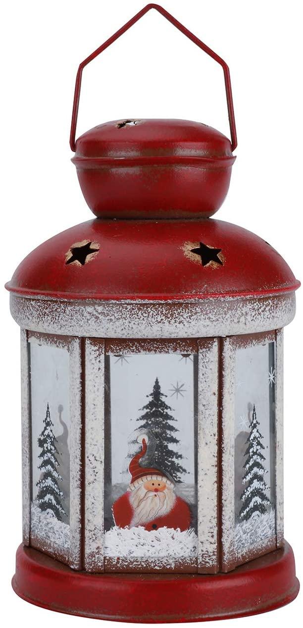 Christmas Candle Lantern Decoration Metal Vintage Style Hanging Lanterns Table Candleholders Lantern Holder Home Decor, Hexagonal Red House