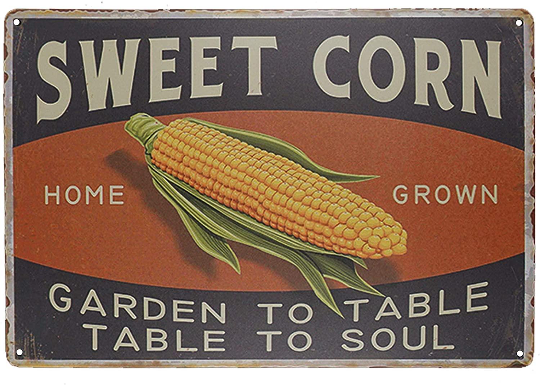 TISOSO Sweet Corn Retro Vintage Metal Tin Sign Home Bar Kitchen Farmhouse Home Decor Signs Gifts Size 8 X 12(Garden to Table Table to Soul)