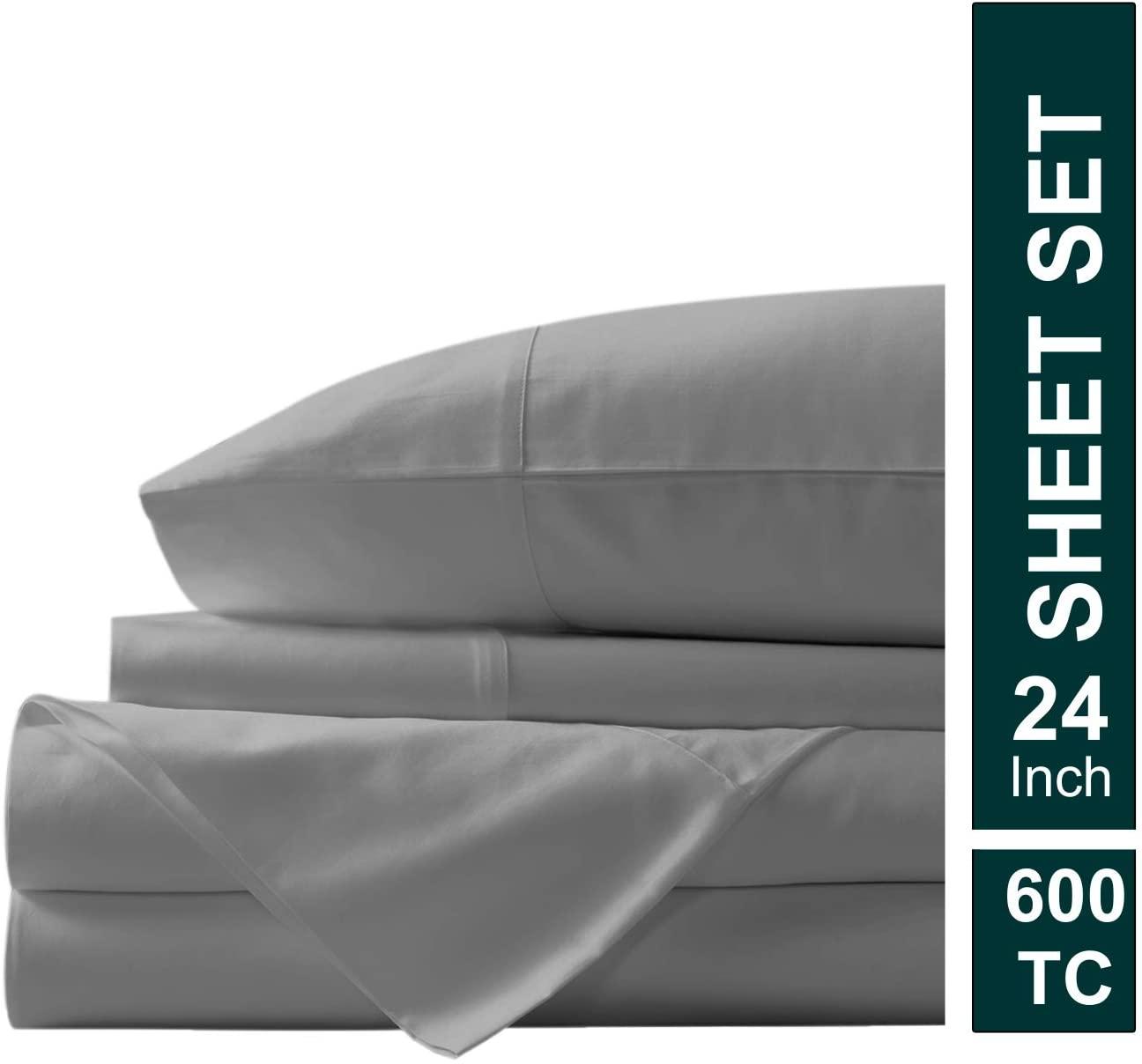 Meraki Linen Presents 4 PC Sheet Set 100% Egyptian Cotton 600 TC Premium Sheet Set, Luxurious Feel Italian Finish Long Staple Comfortable bedsheet Set Comes with 24