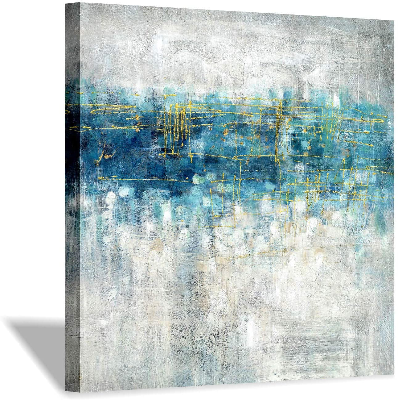 Abstract Modern Canvas Wall Art: Blue and Gray Picture on Canvas for Office (24 x 24 x 1 Panel)