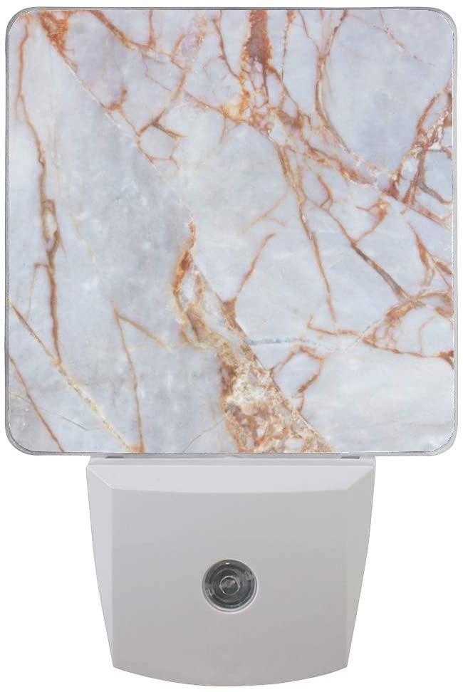 Marble Gold Night Light LED Nightlight Automatic Brightness Adjustment for Bedroom, Bathroom, Kitchen, Hallway, Stairs (2 Pack) 2030019