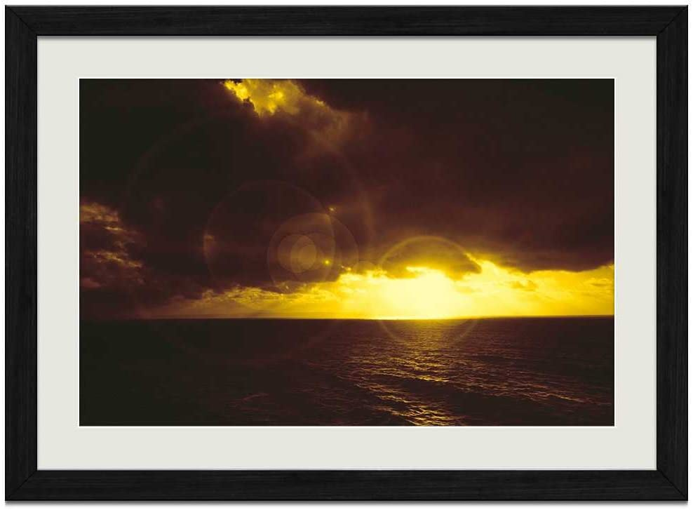 F.Mints Sea Sky Clouds Light Rays - Art Print Wall Black Wood Grain Framed Picture(16x12inches)