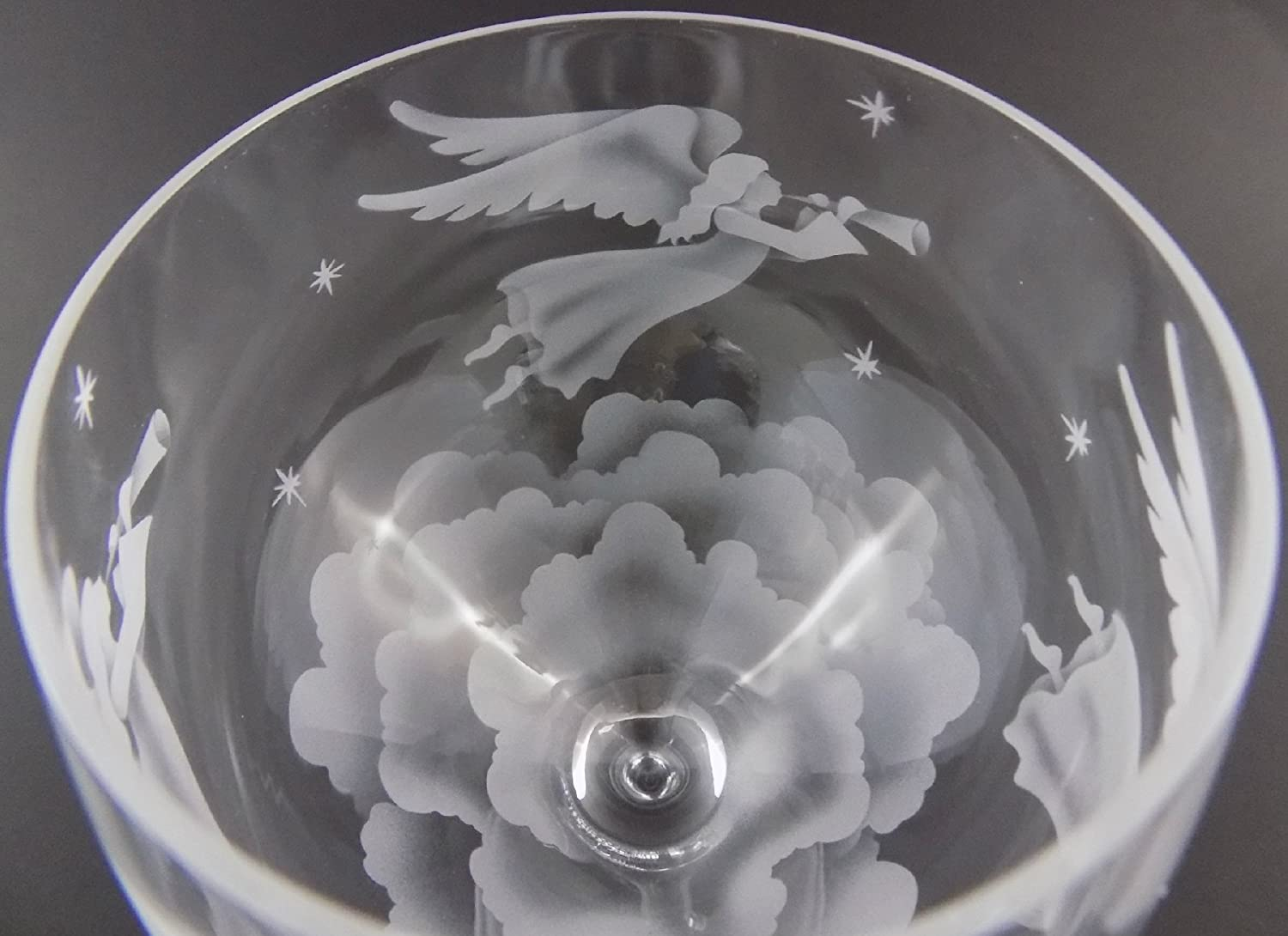 IncisoArt Hand Etched Italian Crystal Goblet Sandblasted (Sand Carved) Handmade Wine Water Glass Engraved (Angel Gabriel's Horn, 340 Milliliter (11.5 Ounce) White Wine)