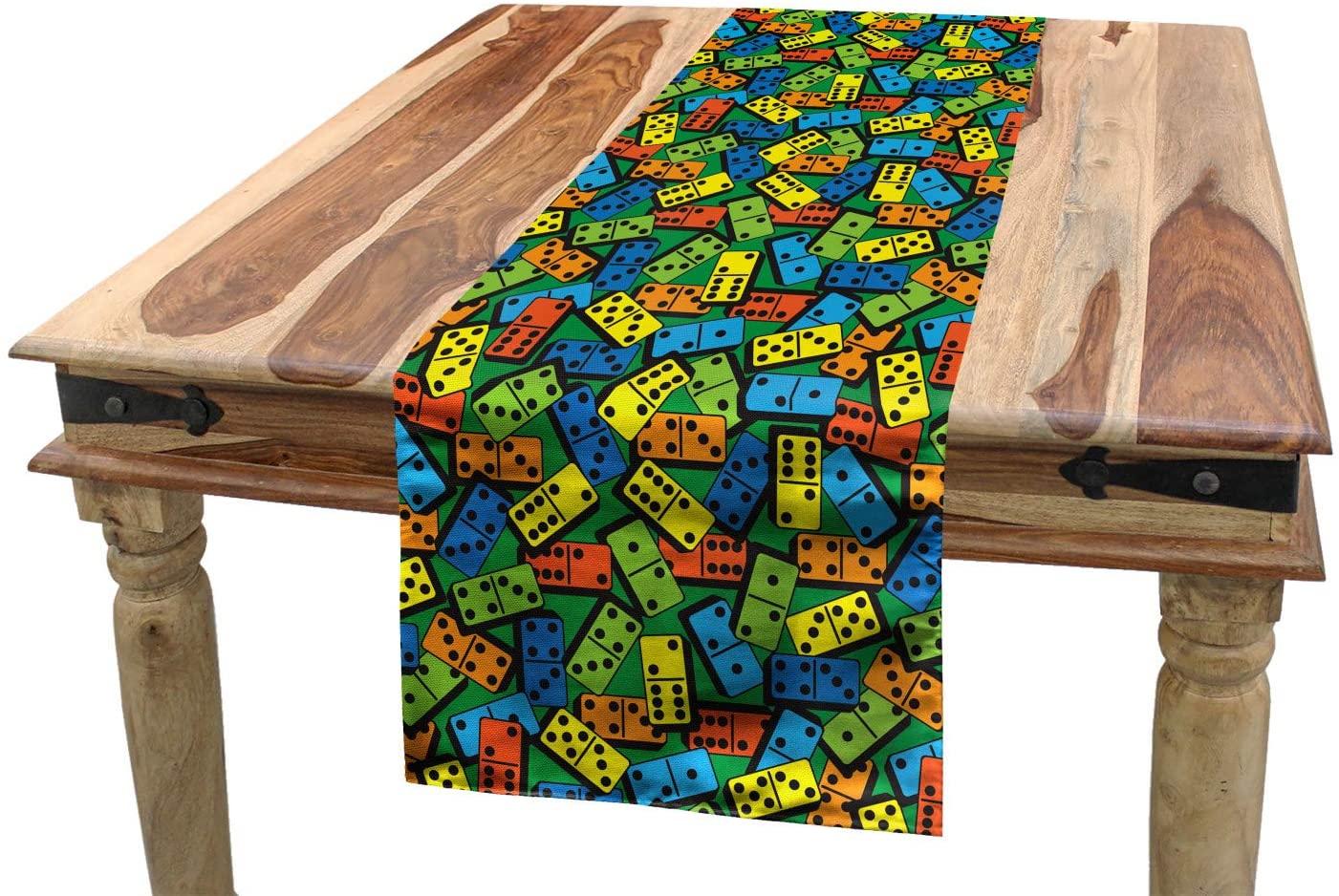Lunarable Casino Table Runner, Colorful Domino Pattern Entertaining Success Winner Player Creative Design Print, Dining Room Kitchen Rectangular Runner, 16