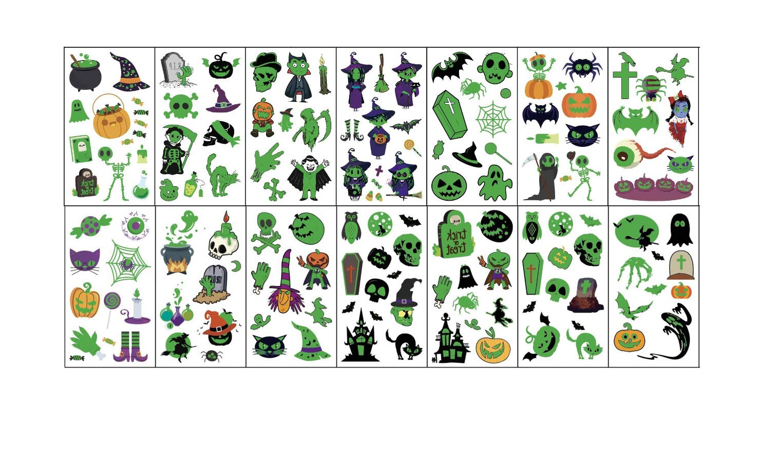 Halloween Tattoos for kids, 14 Sheets Luminous Tattoos Sticker Glow in the Dark Halloween Decorations Birthday Party Favors Supplies (tattoos for kids)