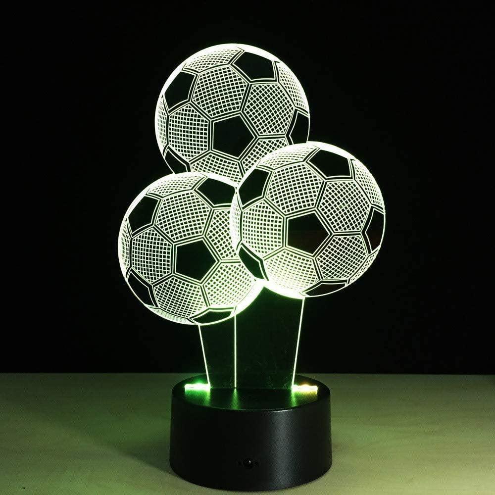vbgdf Football Balloon Shape 3D Led Lamp 7 Colors Changing 3D Illusion Lamp Soccer Night Light 3D Visual Light Gift for Sport Fan