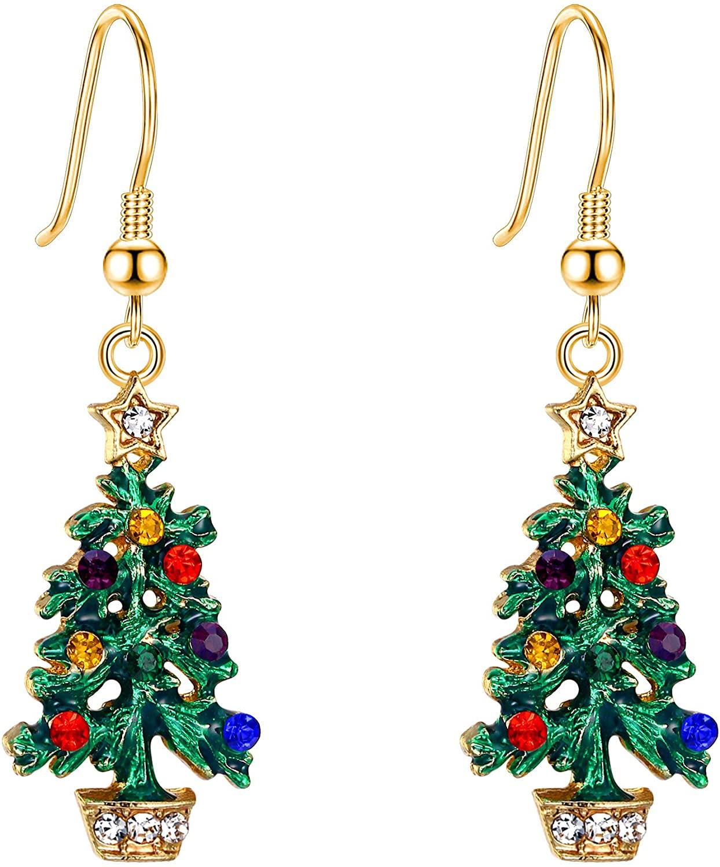 EVER FAITH Christmas Muiticolor Crystal Green Enamel Wishing Tree Star Dangle Hook Earrings Gold-Tone