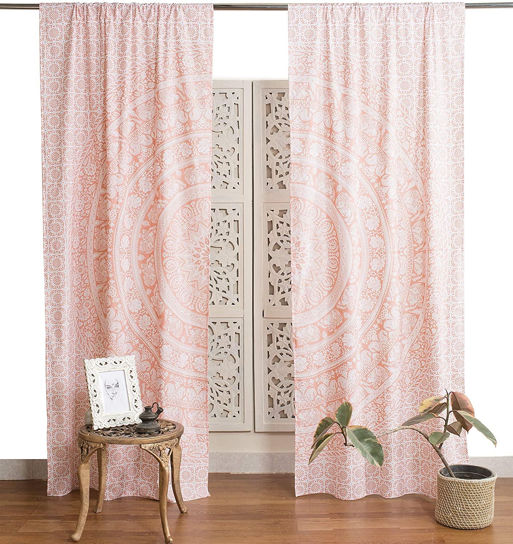 Popular Handicrafts Indian Hippie Bohemian Beautiful Elephant Mandala Curtain Panels Rose Gold