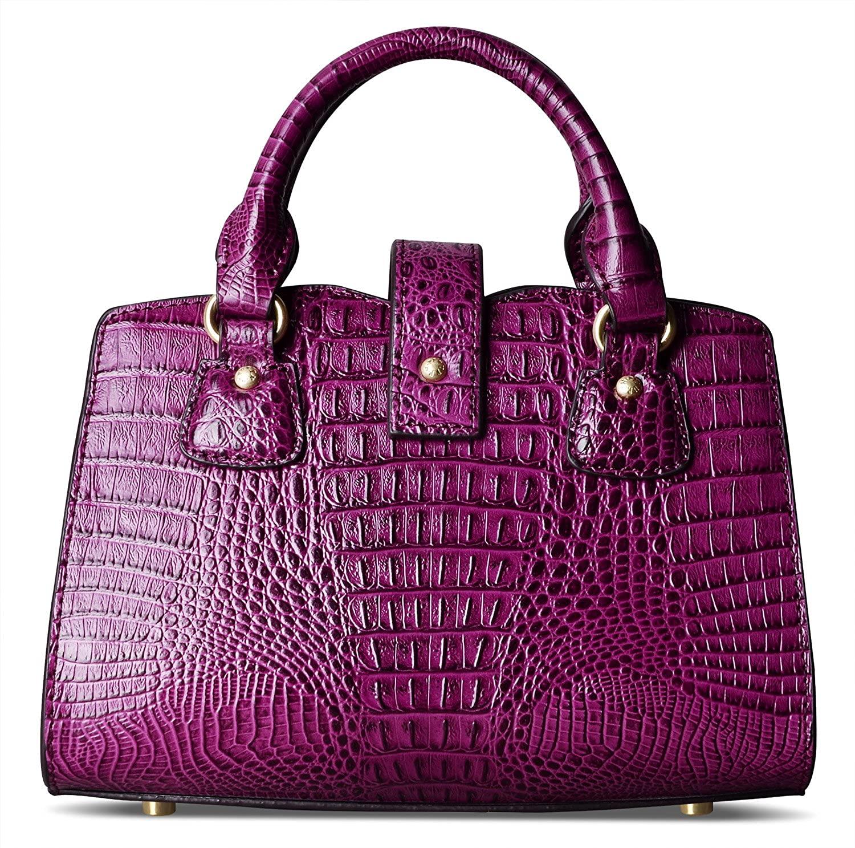 PIFUREN Small Top Handle Crossbody Bags for Women Satchel Purse Crocodile Bags for Ladies