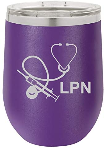 12 oz Double Wall Vacuum Insulated Stainless Steel Stemless Wine Tumbler Glass Coffee Travel Mug With Lid Licensed Practical Nurse LPN (Purple)