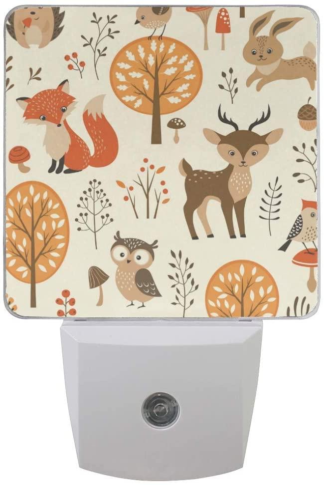 ALAZA Set of 2 Autumn Forest Jungle Animal Fox Deer Rabbit LED Night Light Lamp Dusk to Dawn Sensor Plug in Room Decor for for Girls Boys Adults