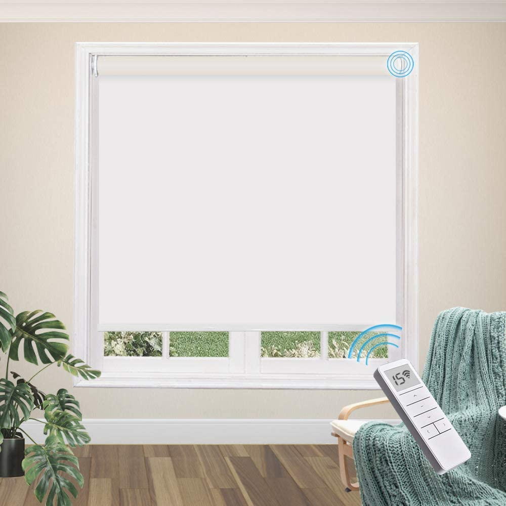 Greenf Motorized Blackout Roller Shades, White Fabric with Remote Control Rechargeable Battery Window Shades with Valance, Light Filtering Cordless Roller Blinds for Windows, Doors
