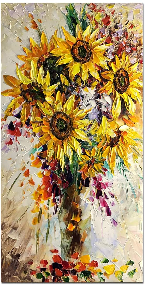 V-inspire Oil Painting, 24x48 Inch Sunflower Abstract 3D Hand-Painted Modern Home Decoratio Wall Art Wood Inside Framed Hanging