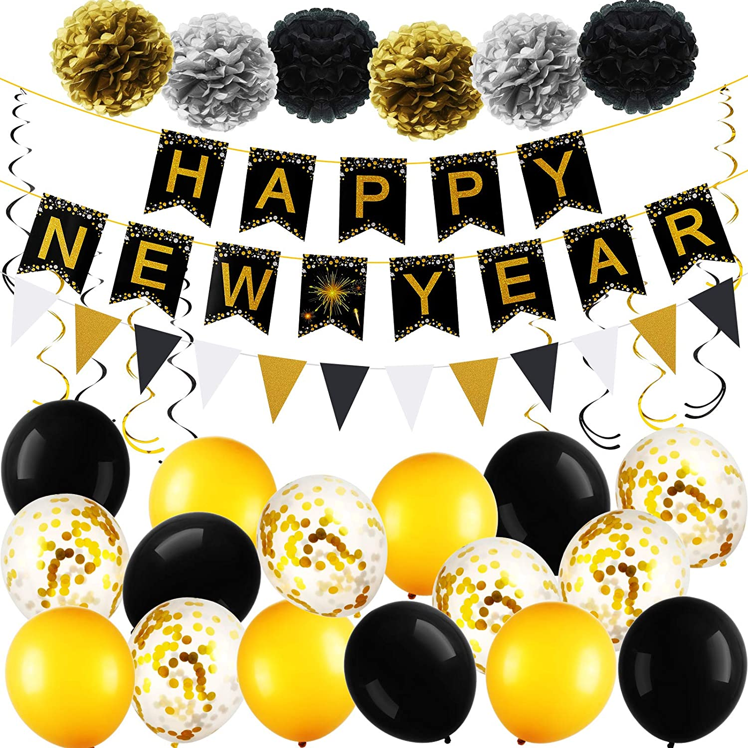 Happy New Year Party Decorations Kit 2021, New Years Eve Party Supplies 2021, Happy New Year Banner Latex Balloons Paper Ball Flower Black and Gold for New Year Party Decorations