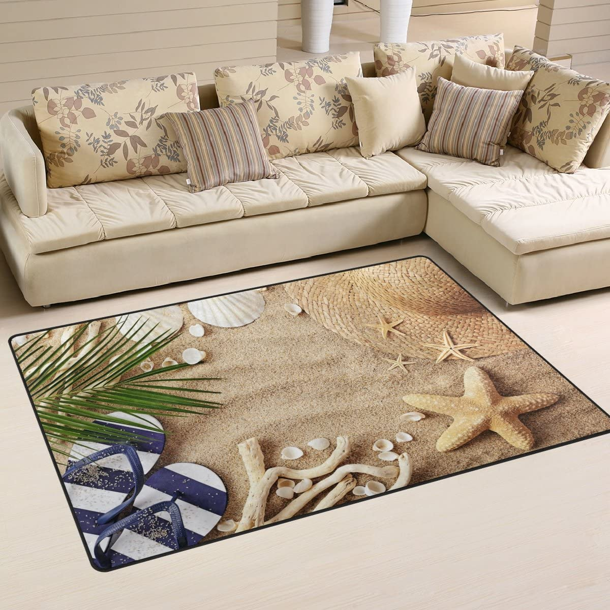 WOZO Sand Beach Palm Tree Leaves Starfish Summer Area Rug Rugs Non-Slip Floor Mat Doormats for Living Room Bedroom 60 x 39 inches