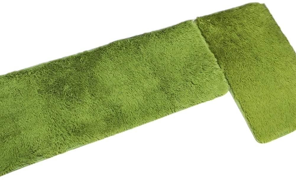 ExhilaraZ Soft Rugs Home Kitchen Bathroom Anti-Slip Door Mat Floor Entrance Super Carpet 2Pcs Green
