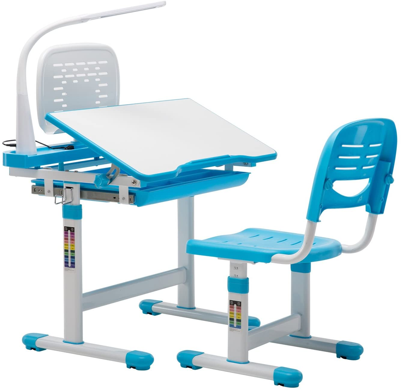 Mecor Kids Desk and Chair Set Height Adjustable,Children Student Sturdy Table w/Book Shelf/Sliding Drawer Storage and Three-Color Adjustable Bulb (Blue)