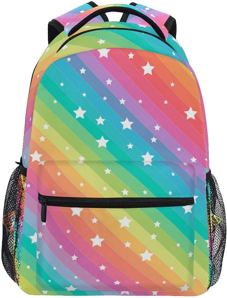 Moudou Rainbow Star Backpack Waterproof School Bookbag Travel Laptop Computer Daypack for Men Women Teen Boys Girls