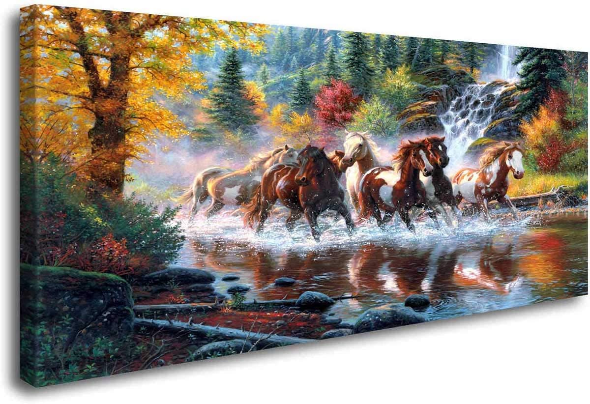 ArtHome520 Golden Landscape Home Decor Canvas Print Painting Colorful Animal Horse Picture Wall Art Contemporary Framed Living Dining Room Decorations (20x40)