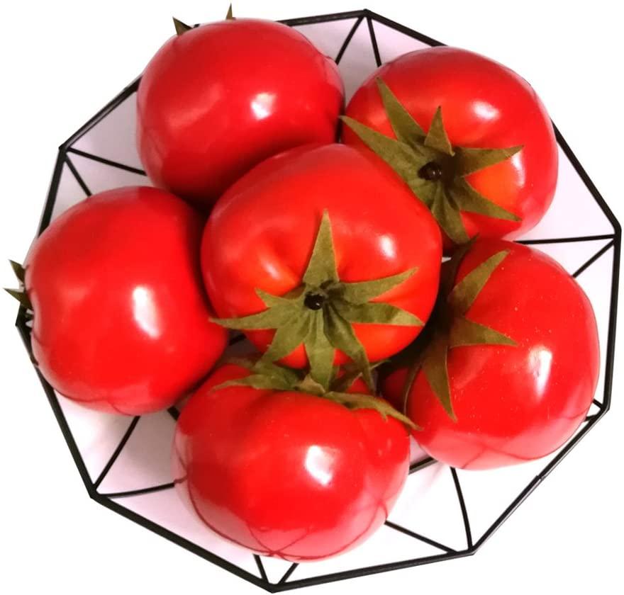 J-Rijzen 6pcs Fake Tomato Artificial Vegetables Artificial Fruits Vivid Red Tomato for Home Fruit Shop Supermarket Desk Office Restaurant Decorations Or Props