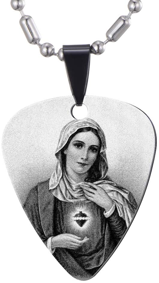 Blessed Virgin Mary Guitar Picks Necklace - Stainless Steel - Guitar Player Gift - Catholic Christian Gifts