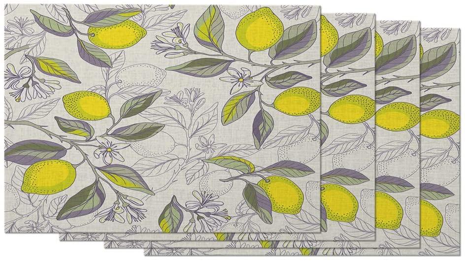 Moslion Lemon Branches Placemats Beautiful Floral Botanical Citrus Plants Fruits Natural Table Placemats for Dinning Table Washable Cotton Linen 12x18 Inch, Set of 4