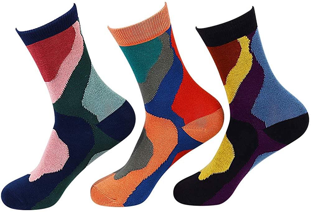 Casual Socks for Women Bamboo Fiber French Art Abstract Socks Novelty Design Crew Socks for Spring Autumn Winter 3 Pair/Pack