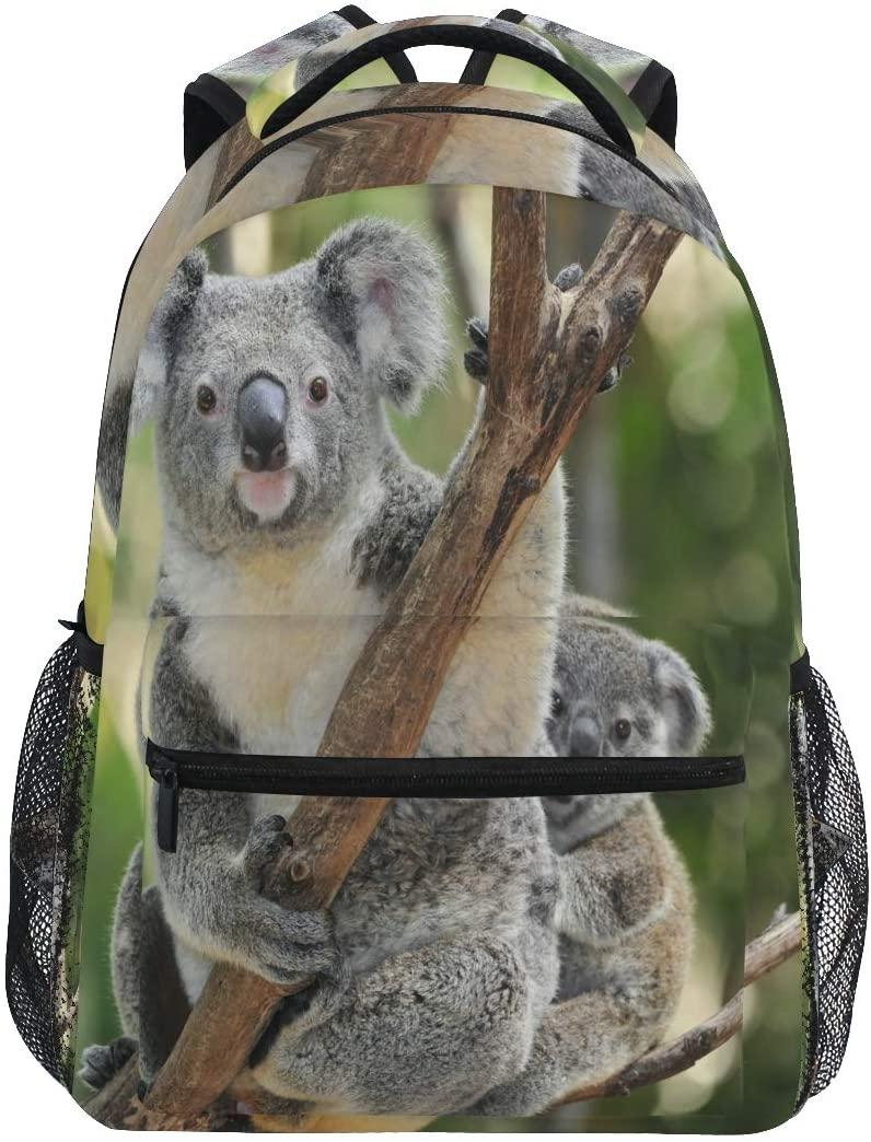 Ombra Backpack Cute Animal Koala Bear on Branch School Shoulder Bag Large Waterproof Durable Bookbag Laptop Daypack for Students Kids Teens Girls Boys Elementary