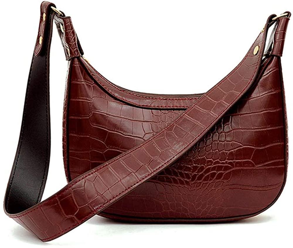 AMHDV Classic Clutch Shoulder Bags Crocodile Pattern Small Crossbody Handbag Bag with Zipper Closure