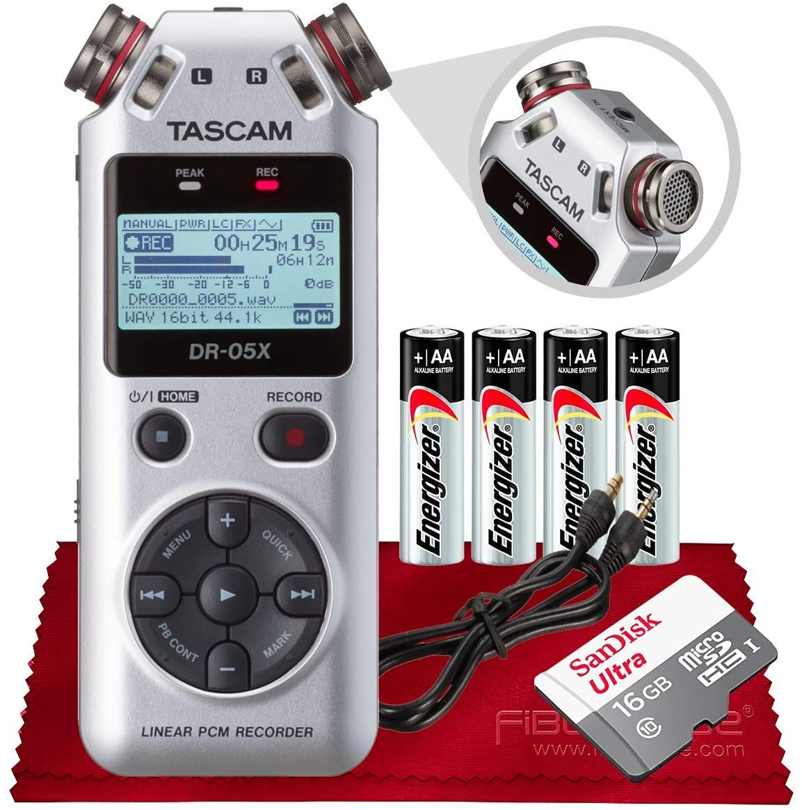 Tascam DR-05X Stereo Handheld Digital Audio Recorder with USB Audio Interface (Silver) + Micro SDHC 16GB, Auxiliary Cable, Batteries & Fibertique Microfiber Cleaning Cloth