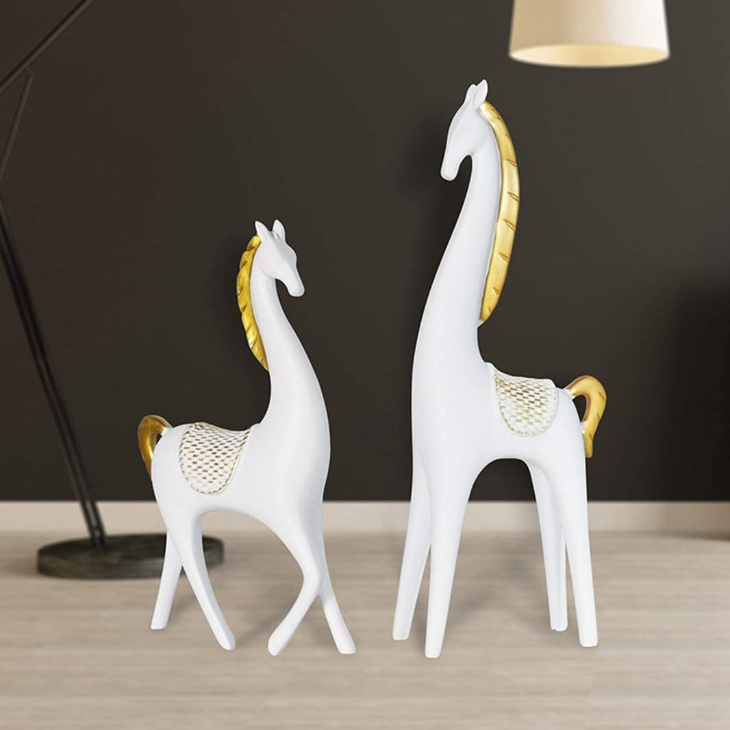 GEPIJPGEKH Resin Animal Home Decoration Crafts Creative Gift Nordic Style Simple Black White Horse Statue Steed Sculpture